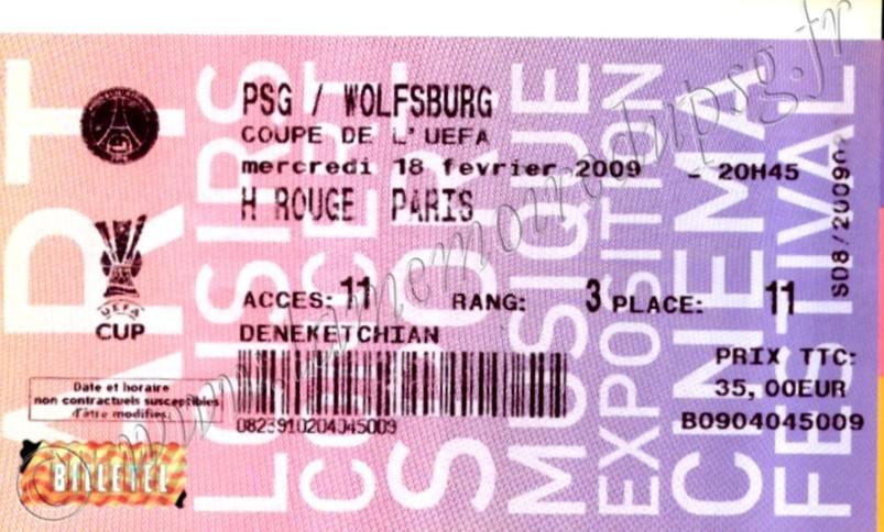 2009-02-18  PSG-Wolfsburg (16ème Finale Aller C3, Billetel)