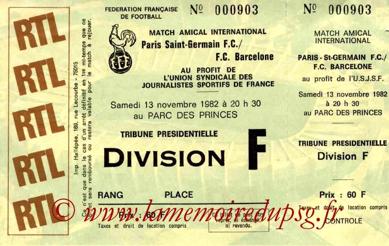 1982-11-13  PSG-Barcelone (Amical au Parc des Princes, Entier)