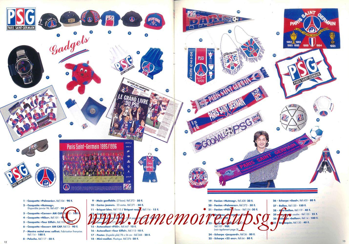 Catalogue PSG - 1995-96 - Pages 12 et 13