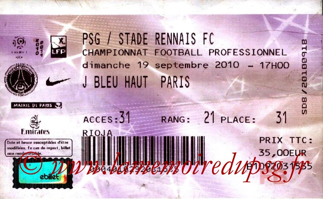 2010-09-19  PSG-Rennes (6ème L1, France Billet)