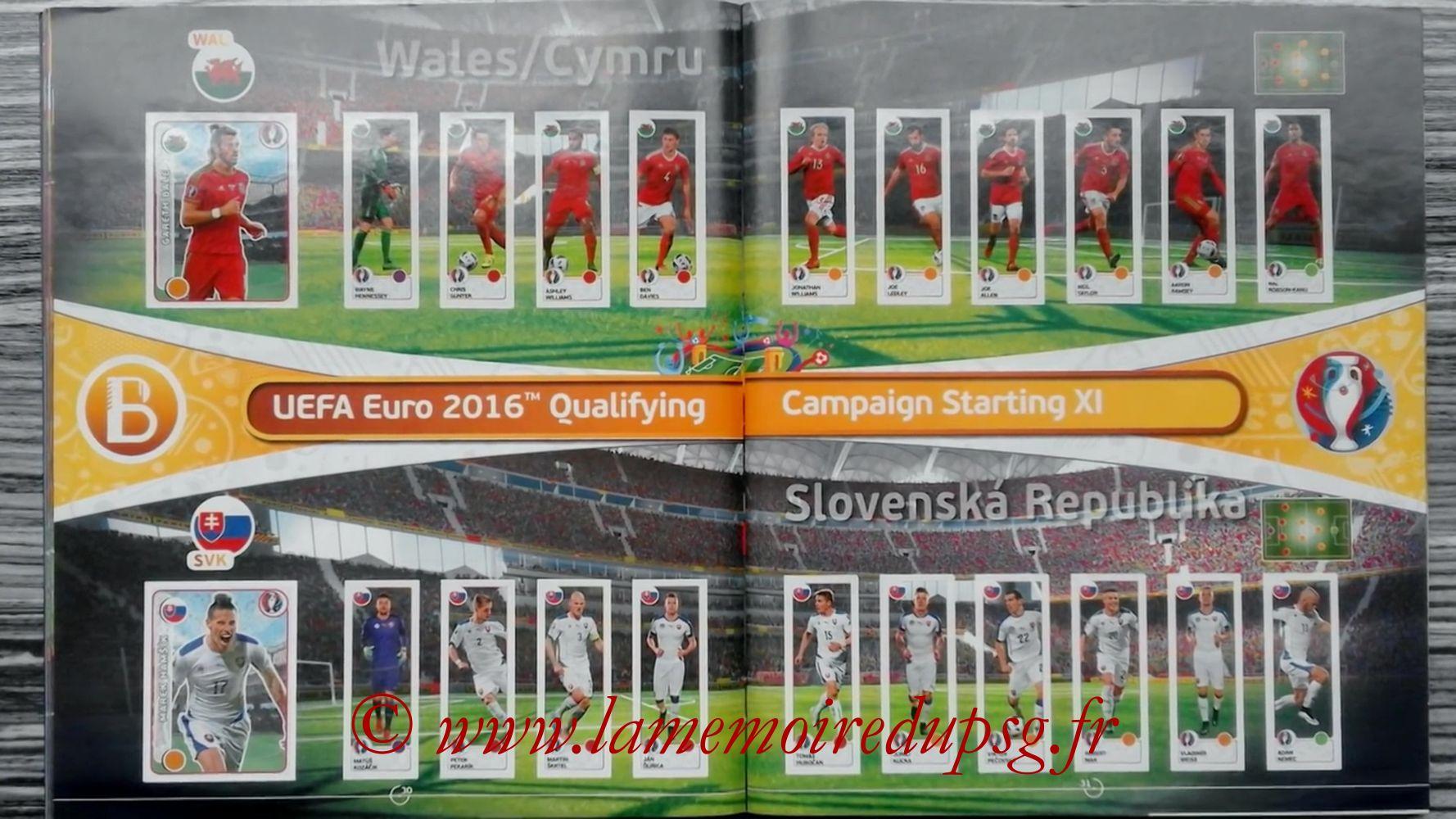 Panini Euro 2016 Stickers - Pages 30 et 31 - Pays de Galles et Slovenie