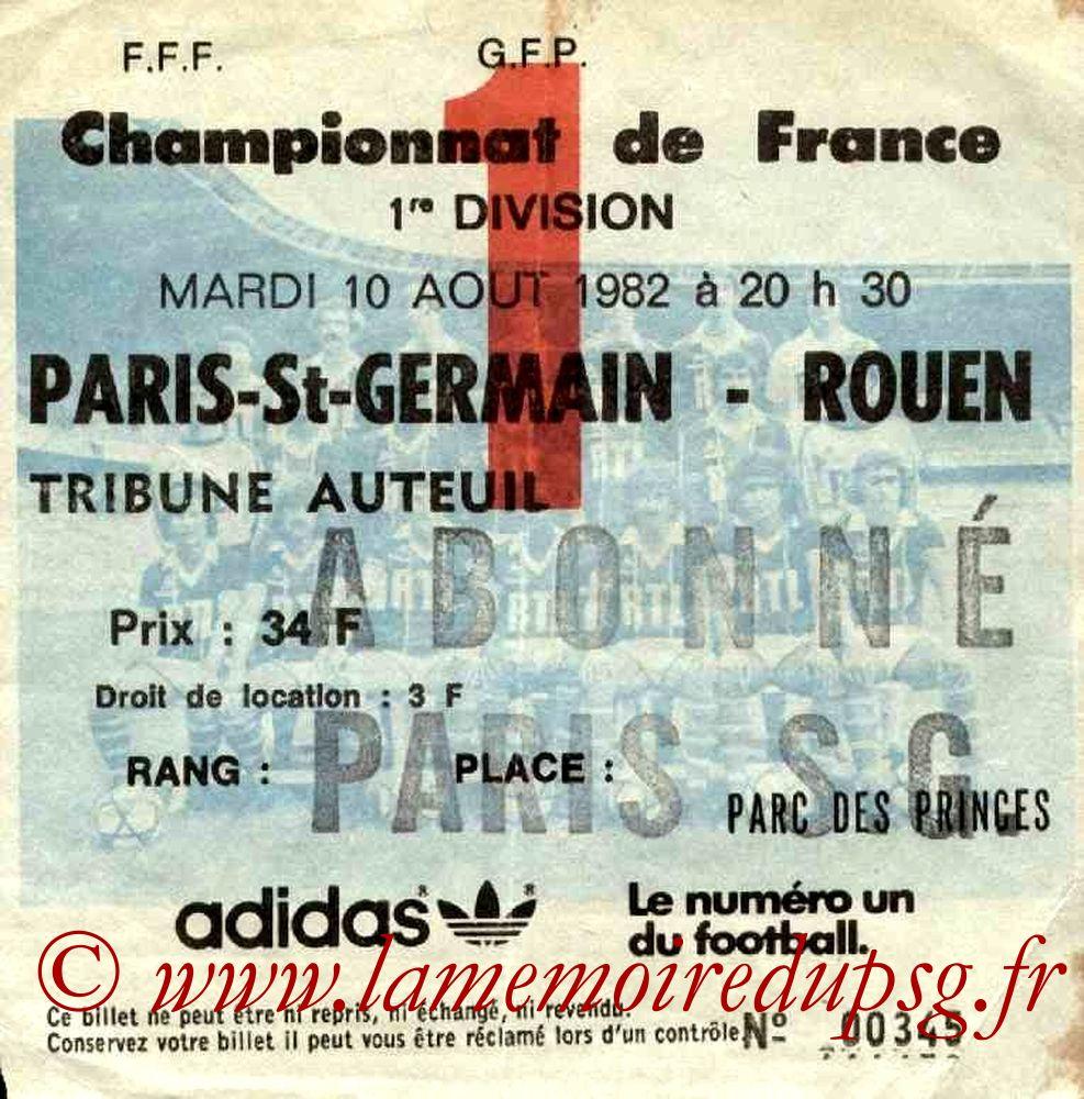 1982-08-10  PSG-Rouen (1ère D1, Ticket N°1)