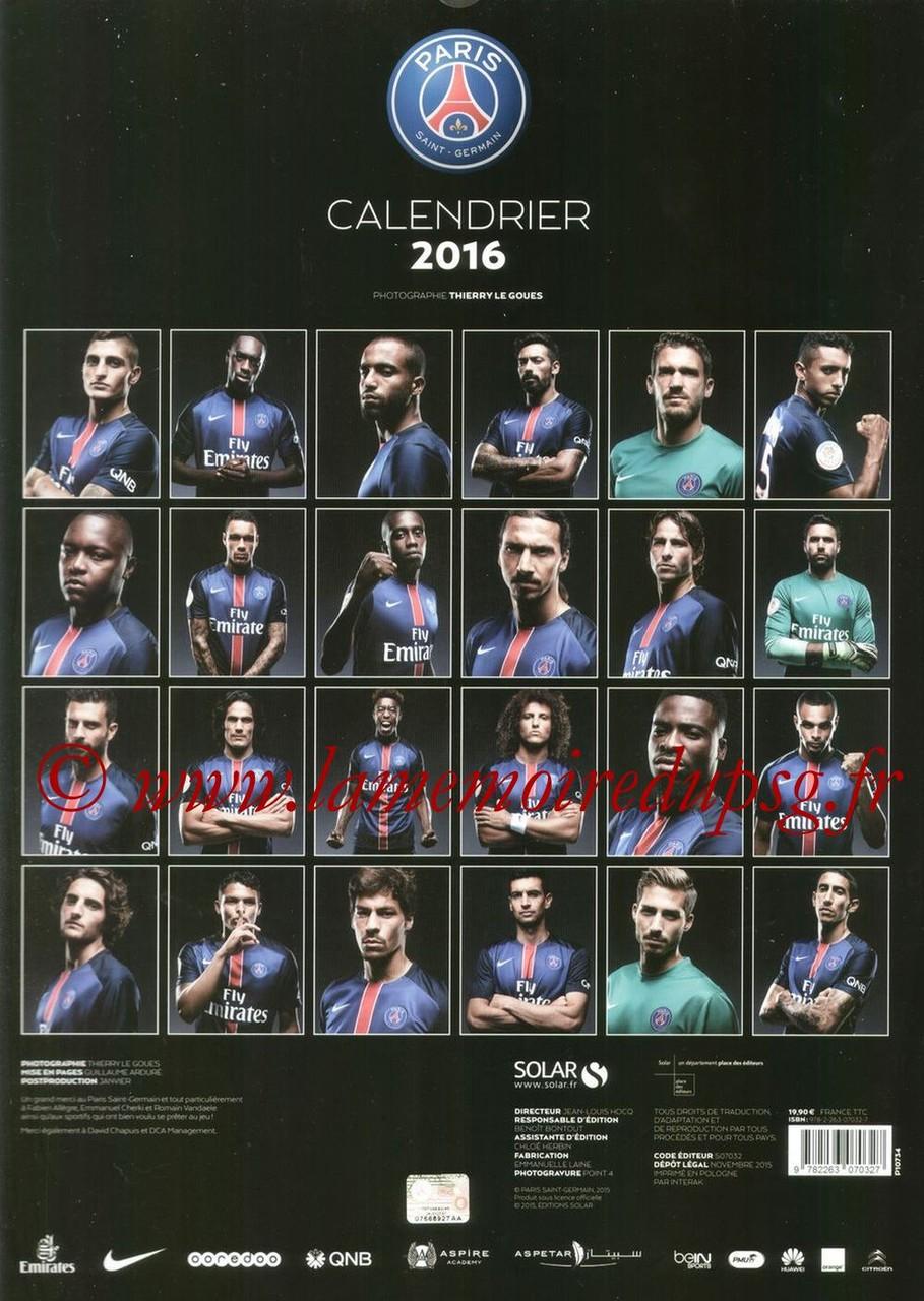 Calendrier PSG 2016 - Dos