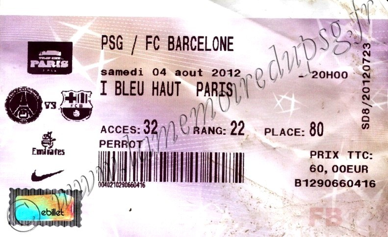 2012-08-04  PSG-Barcelone (Amical au Parc des Princes, Billetel)