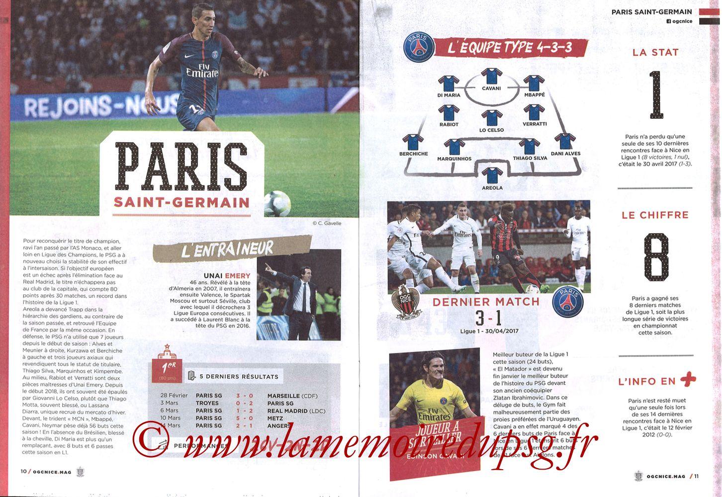 2018-03-18  Nice-PSG (30ème L1, OGC Nice Mag N°306) - Pages 10 et 11