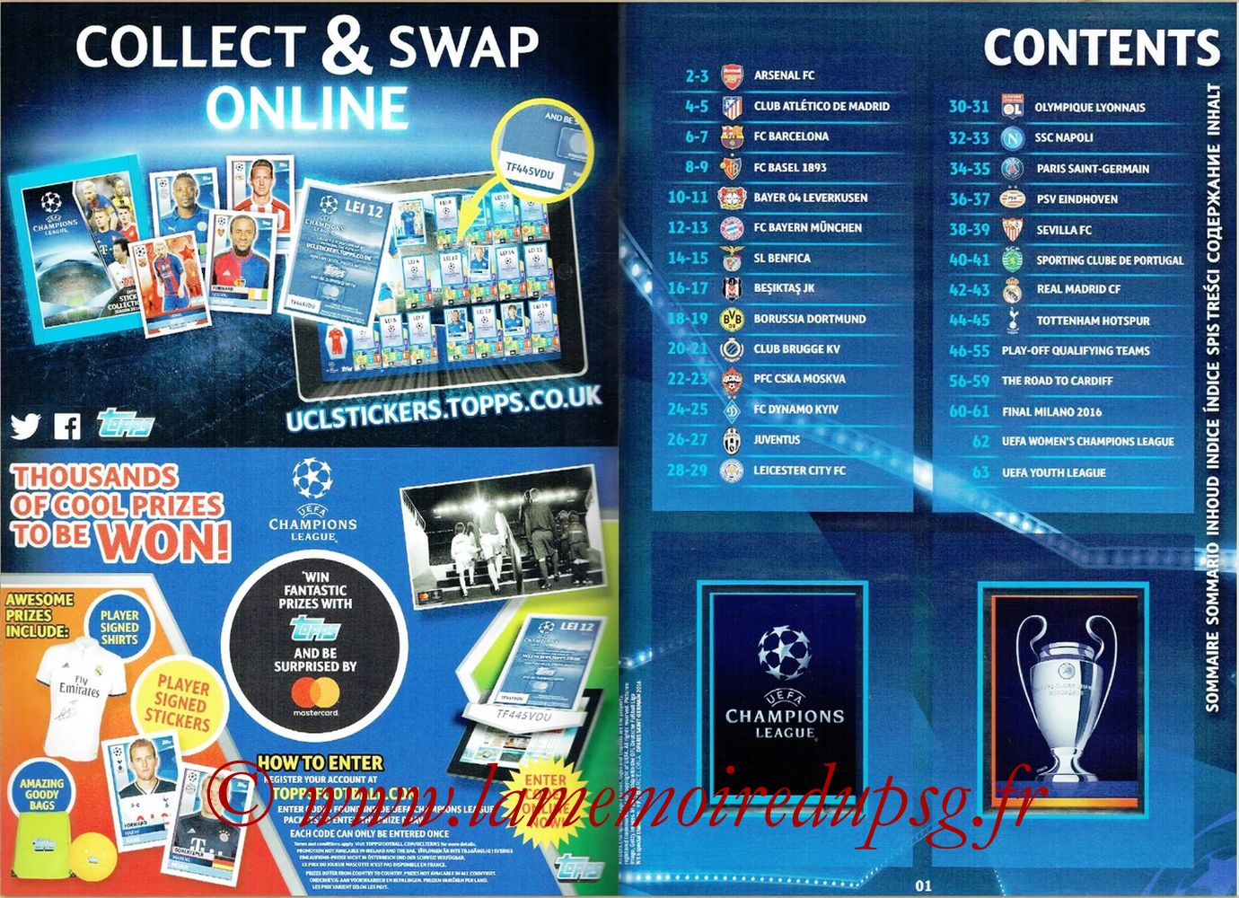 2016-17 - Topps UEFA Champions League Stickers - Pages 00 et 01 - Sommaire