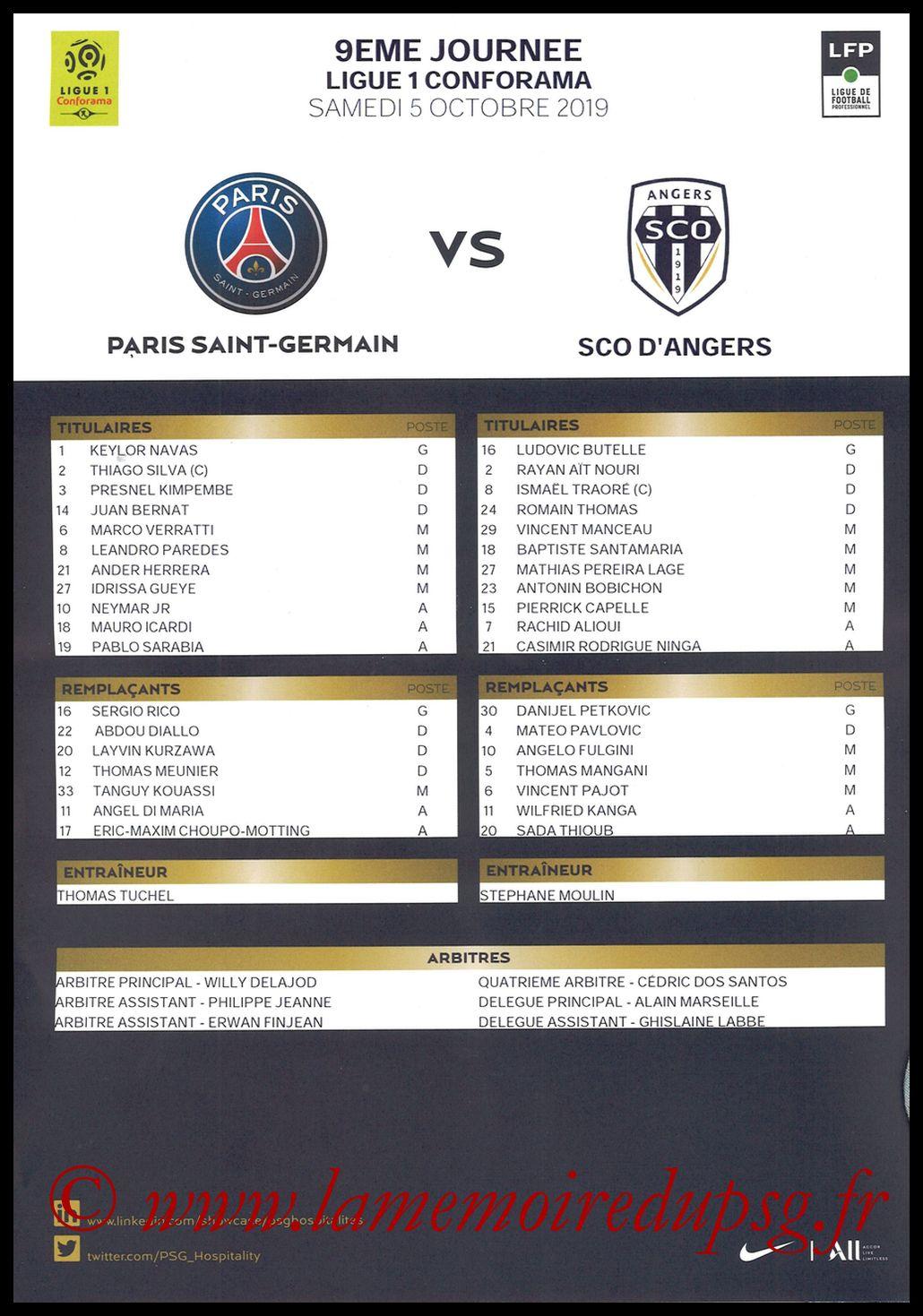 2019-10-05  PSG-Angers (9ème L1, Feuille de match)