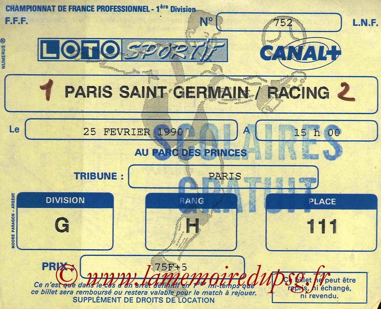 1990-02-25  PSG-Racing Paris 1 (27ème D1 bis)