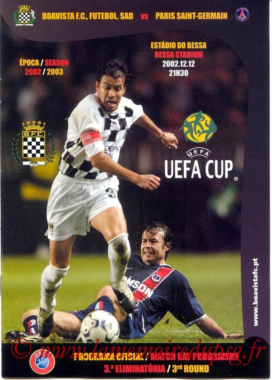 2002-12-12  Boavista Porto-PSG (16ème Finale Retour C3, Programme officiel)