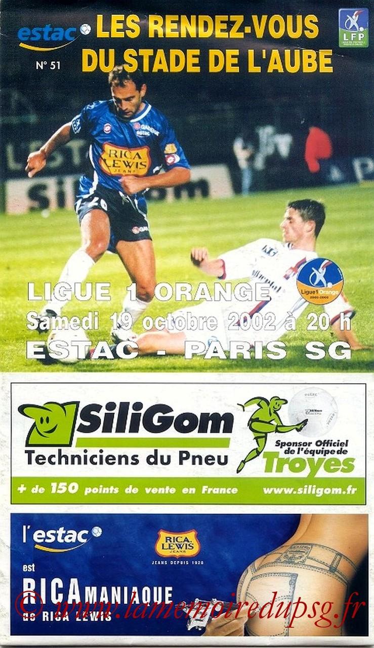 2002-10-19  Troyes-PSG (11ème L1, Les RDV du Stade de l'Aube N°51)