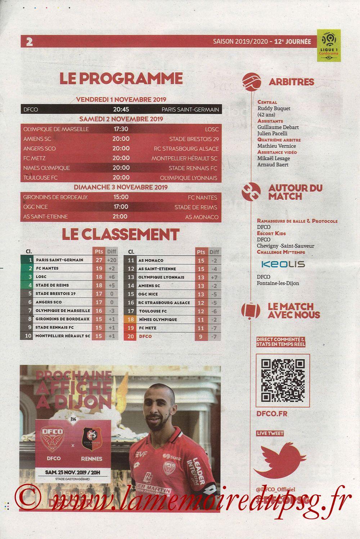 2019-11-01  Dijon-PSG (12ème L1, Chouett Infos) - Page 02