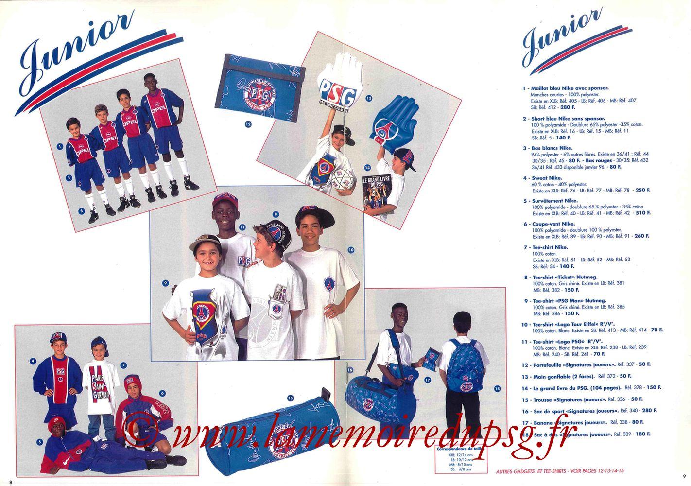 Catalogue PSG - 1995-96 - Pages 08 et 09