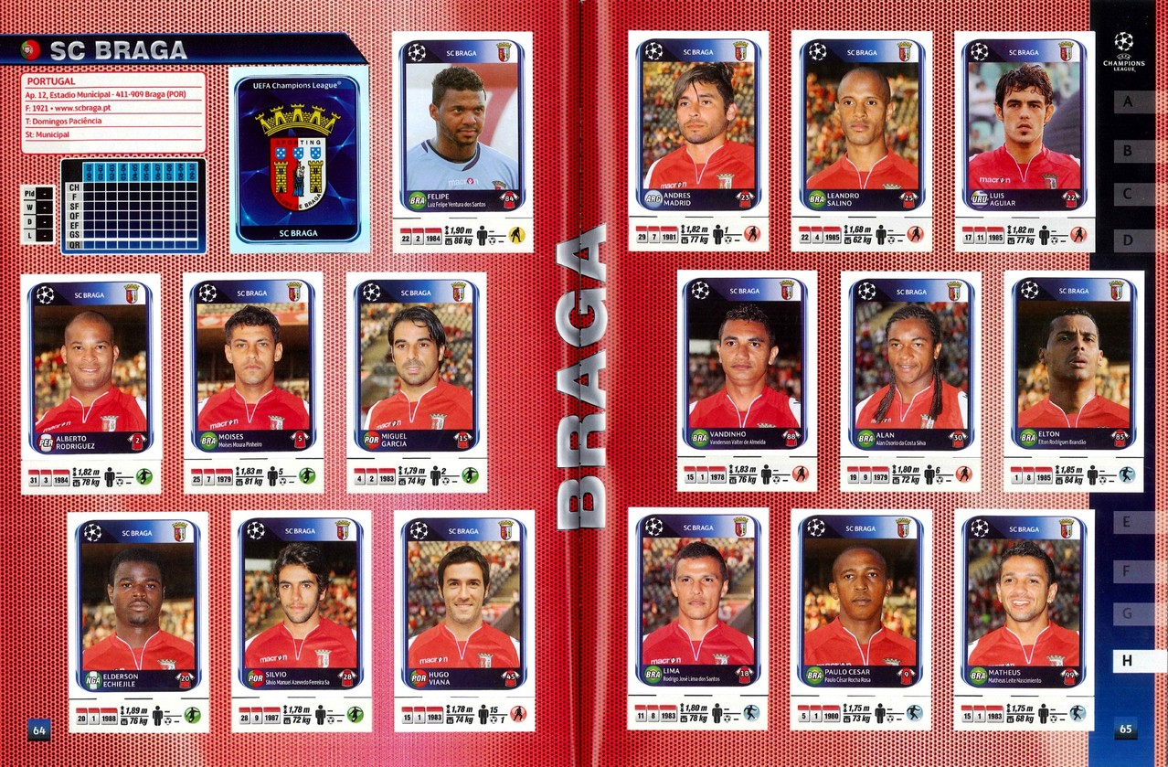 2010-11 - Panini Champions League - Pages 64 et 65 - SC Braga