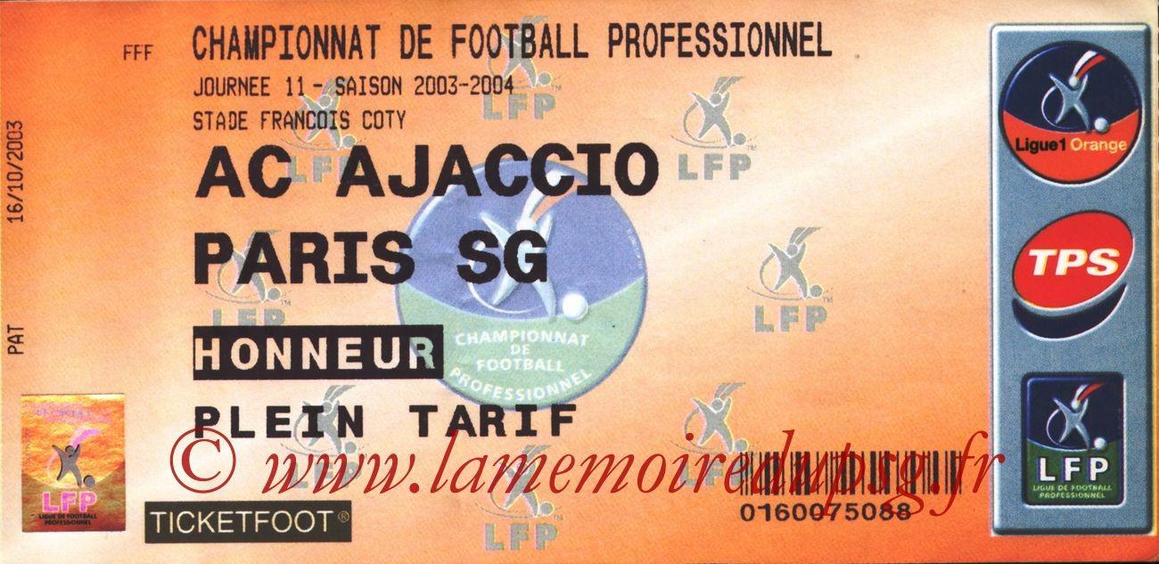 2003-10-25   Ajaccio-PSG (11ème L1)