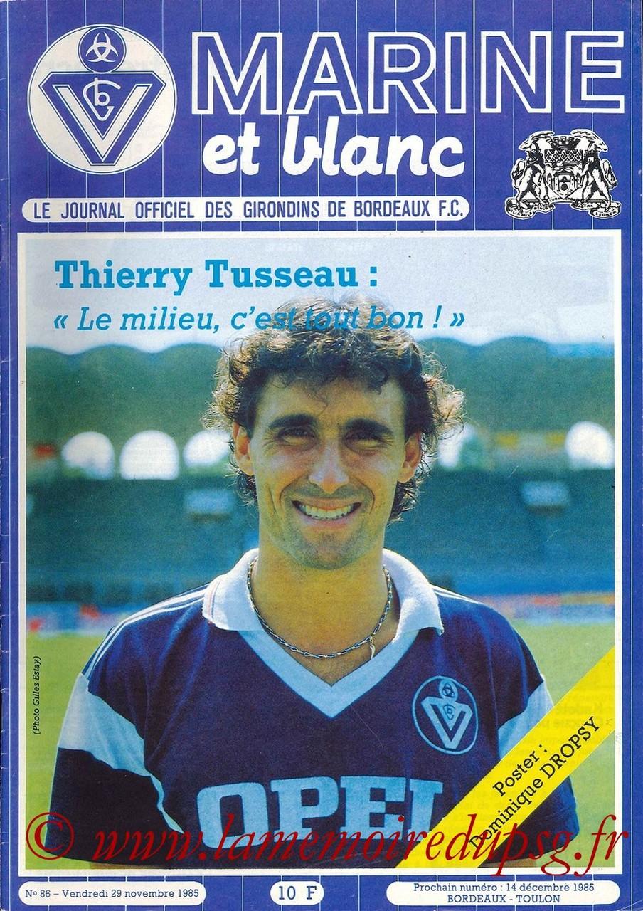 1985-11-29  Bordeaux-PSG (22ème D1, Marine et Blanc N°86)