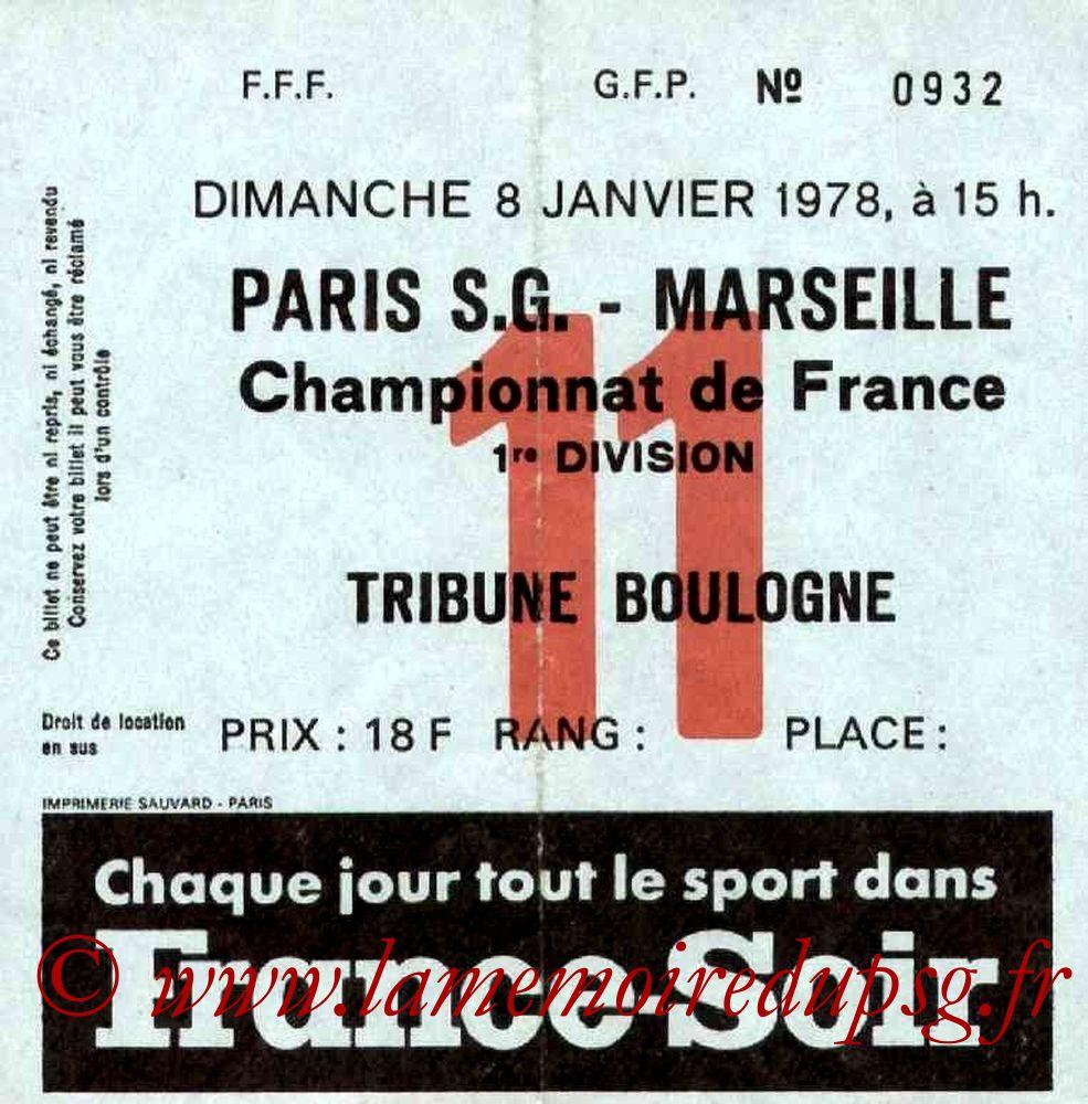 1978-01-08  PSG-Marseille (23ème D1, Ticket N°11)