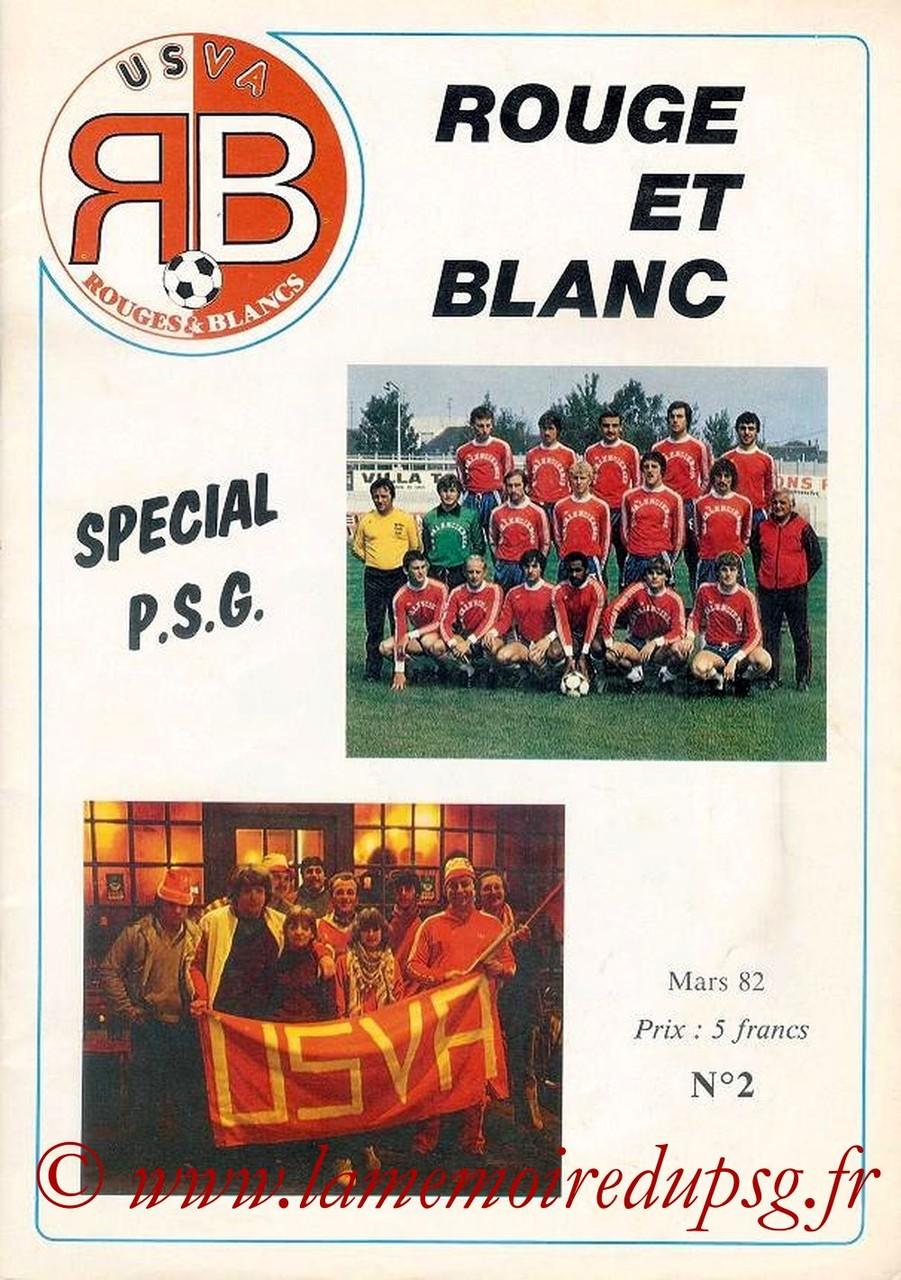1982-03-20  Valenciennes-PSG (31ème D1, Rouge et Blanc N°2)