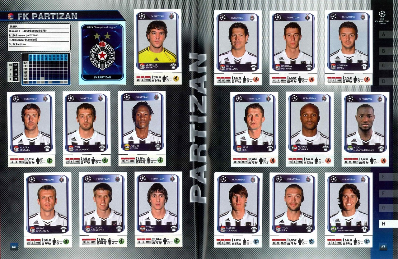 2010-11 - Panini Champions League - Pages 66 et 67 - FK Partizan Belgrade