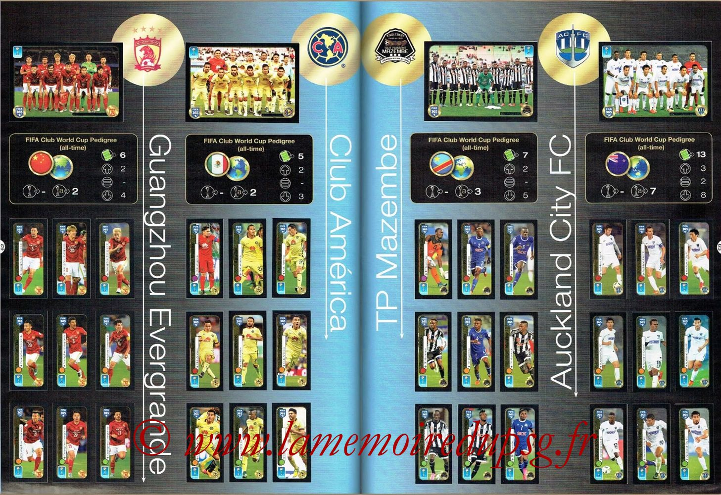 2016-17 - Panini FIFA 365 Stickers - Pages 62 et 63 - Guangzhou Evergrande et Club America + TP Mazembe + Auckland City FC