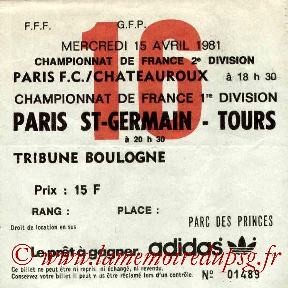 1981-04-15  PSG-Tours (32ème D1, Ticket N°16)