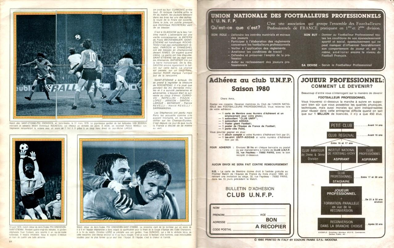 1979-80 - Panini 1980 - Pages 64 et 65 - Spécial Saint-Etienne + UNFP