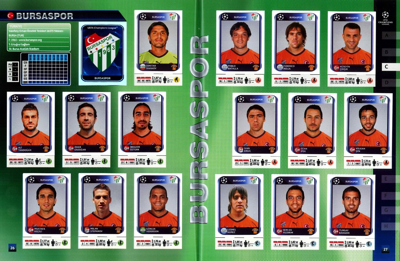 2010-11 - Panini Champions League - Pages 26 et 27 - Bursaspor