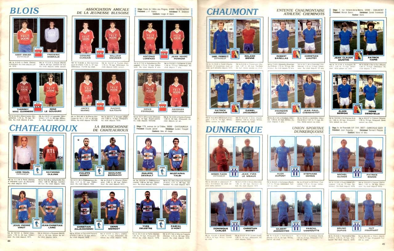 1979-80 - Panini 1980 - Pages 44 et 45 - AAJ Blois et La Berrichonne de Chateauroux + Entente Chaumont et US Dunkerque