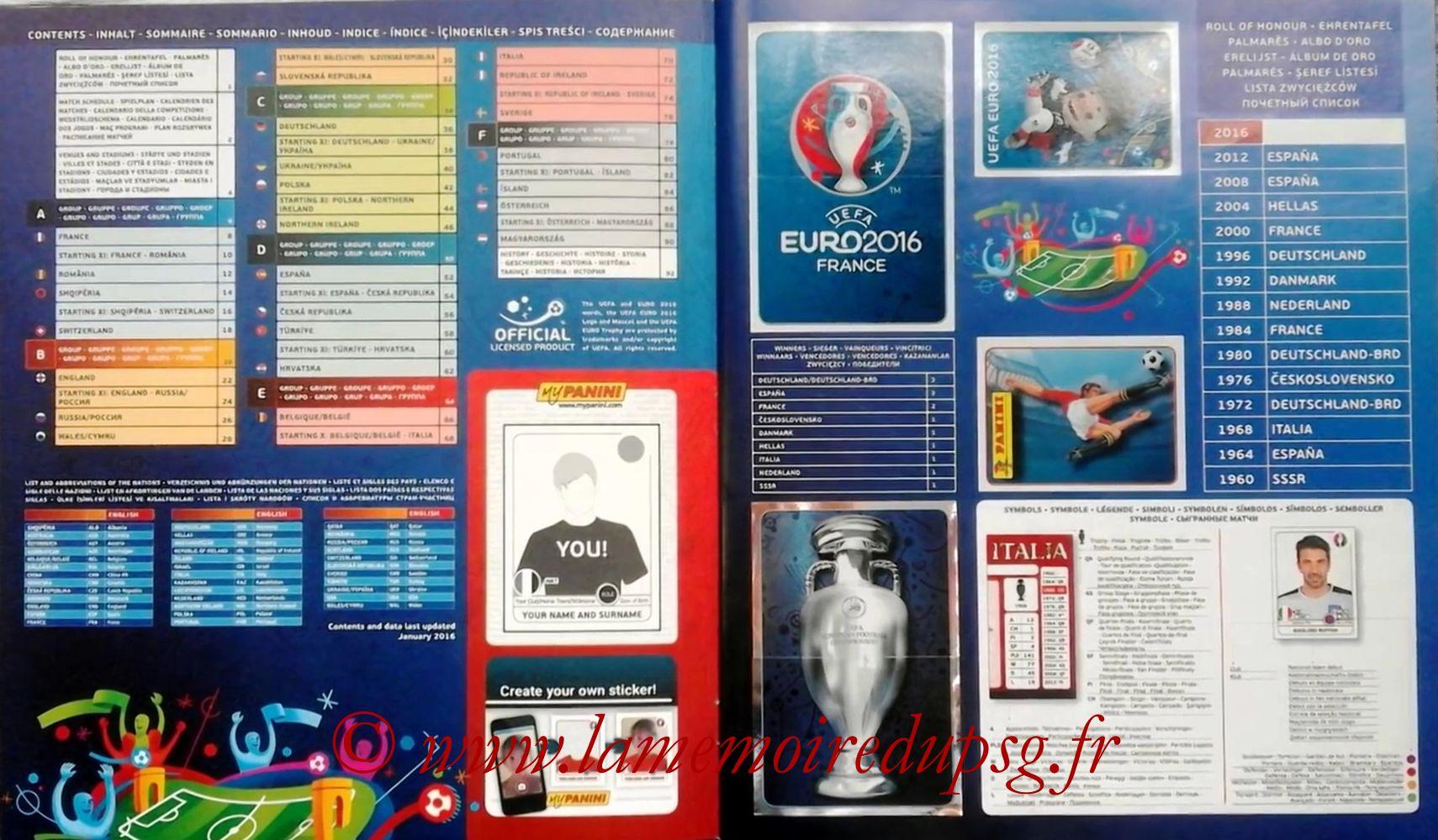 Panini Euro 2016 Stickers - Pages 00 et 01 - Sommaire et Palmares