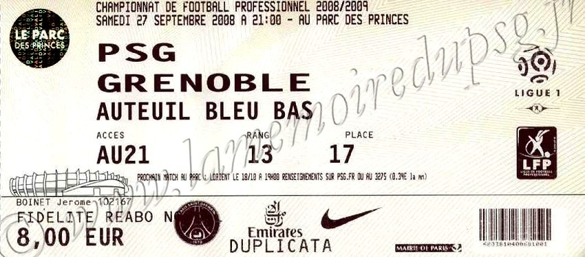 2008-09-27  PSG-Grenoble (7ème L1)