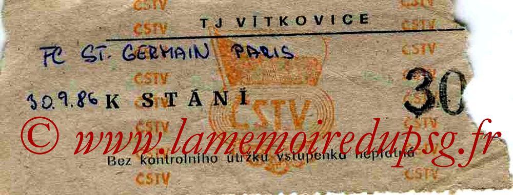 Ticket  Vitkovice-PSG  1986-87