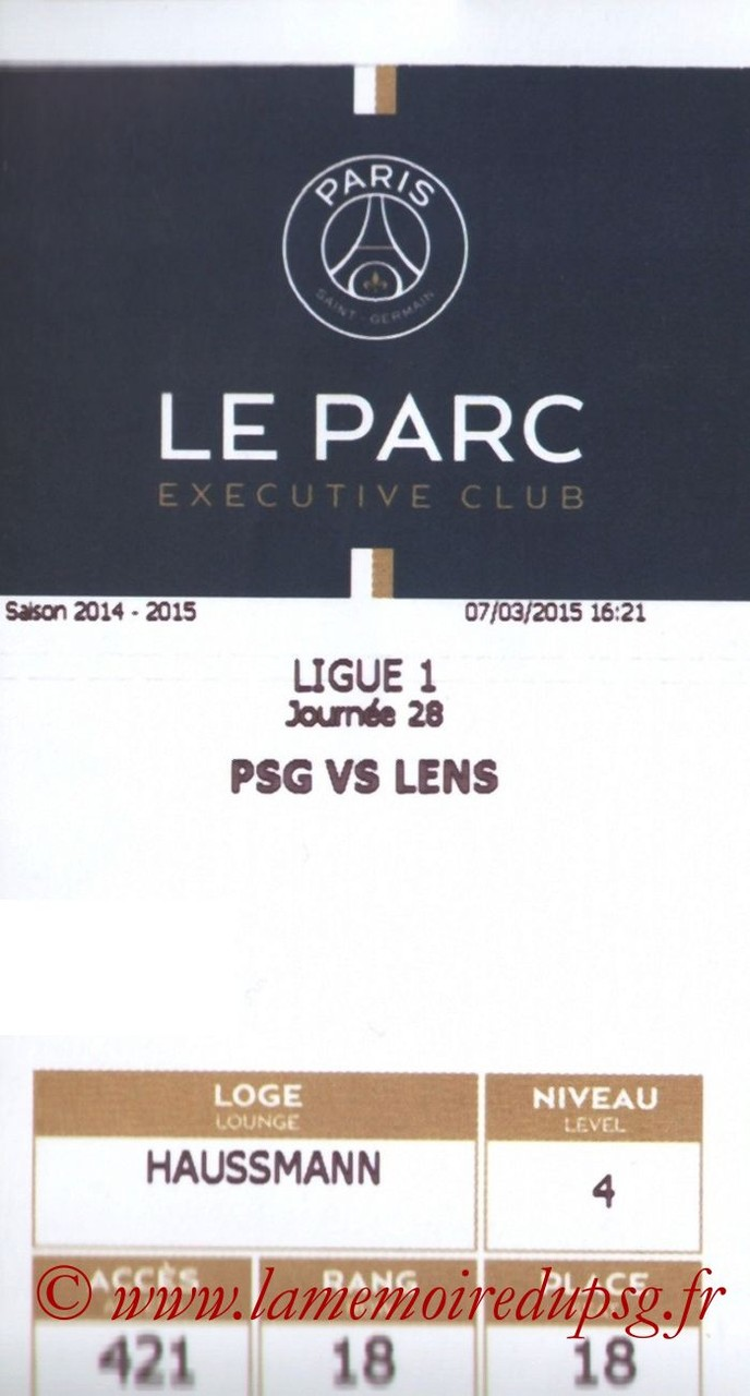 2015-03-07  PSG-Lens (28ème L1, E-ticket Executive Club)