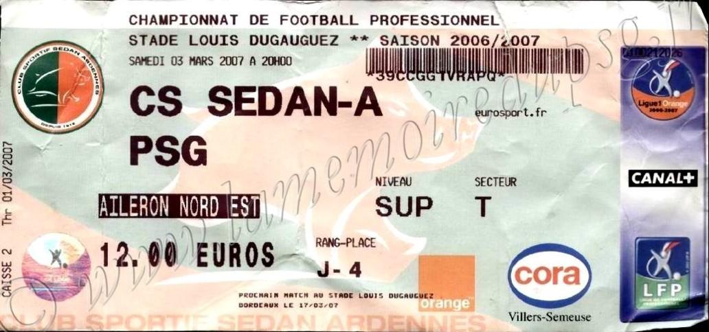 2007-03-03  Sedan-PSG (27ème L1)
