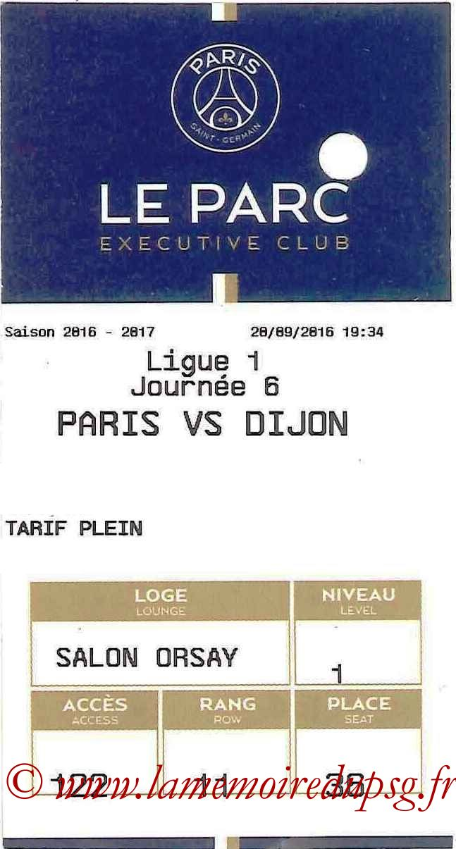 2016-09-20  PSG-Dijon (6ème L1, E-ticket Executive club)