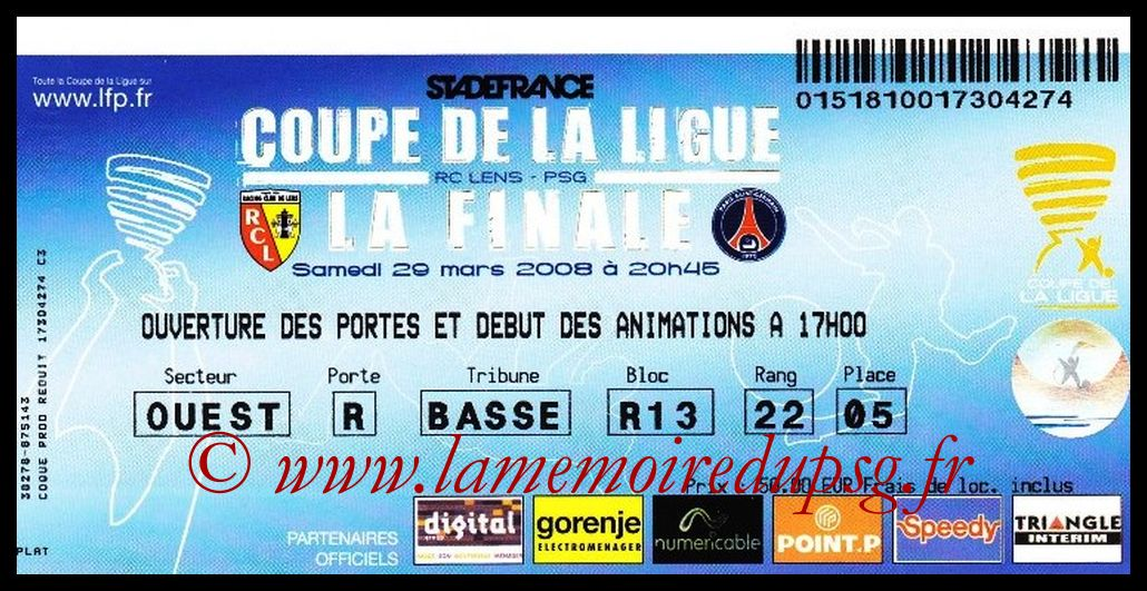Ticket Finale CL N° 14 - 2008-03-29 - Lens-PSG (Stade de France)
