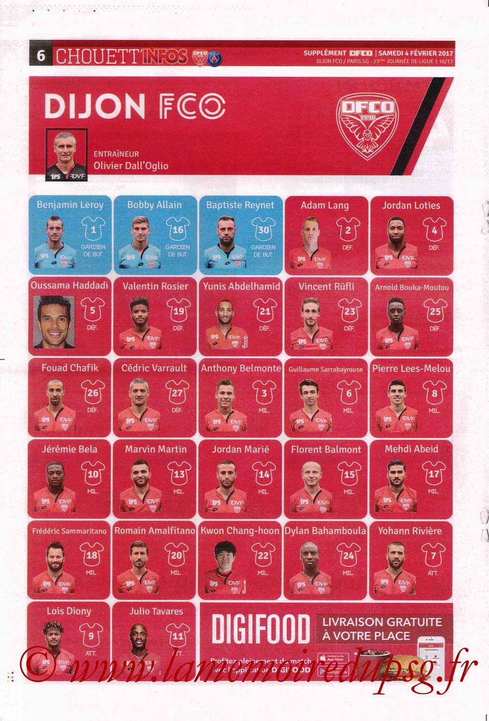 2017-02-04  Dijon-PSG (23ème L1, Chouett' Info N°12) - Page 6