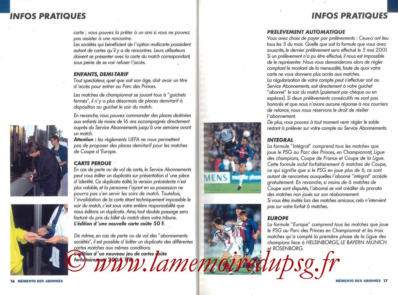 2000-01 - Guide de la Saison PSG - Pages 16 et 17