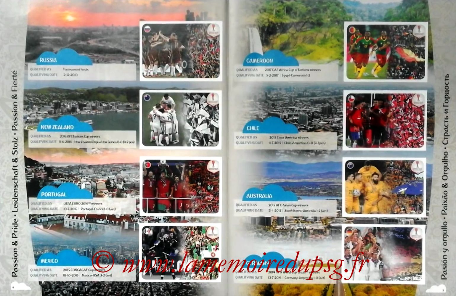 2017 - Panini Confederations Cup Russia Stickers - Pages 04 et 05 - Passion et Fierté