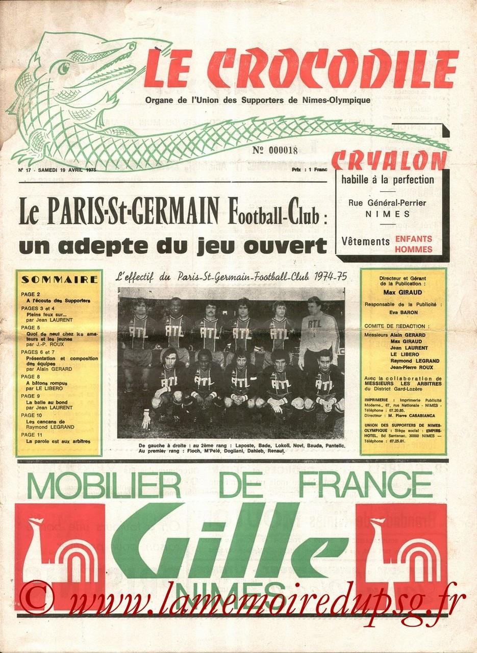1975-04-19  Nîmes-PSG (34ème D1, Le Crocodile N°17)