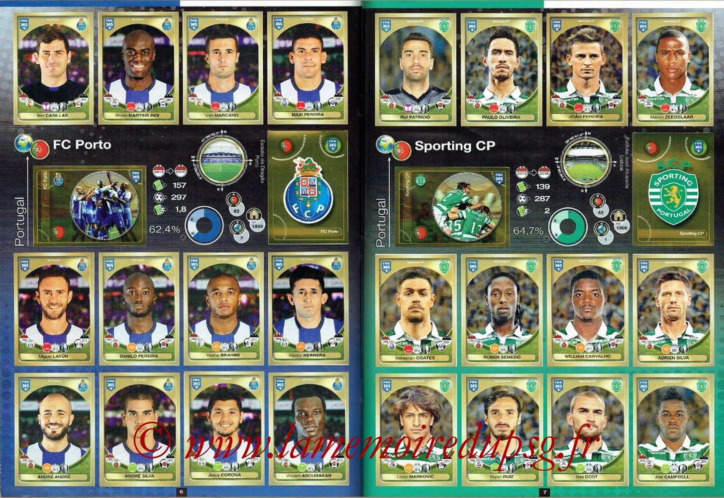 2016-17 - Panini FIFA 365 Stickers - Pages 06 et 07 - FC Porto + Sporting CP