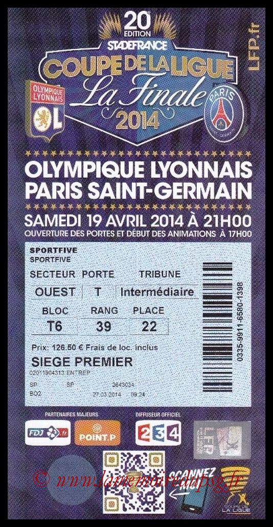 Ticket Finale CL N° 20 - 2014-04-19 - Monaco-Lyon (Stade de France)
