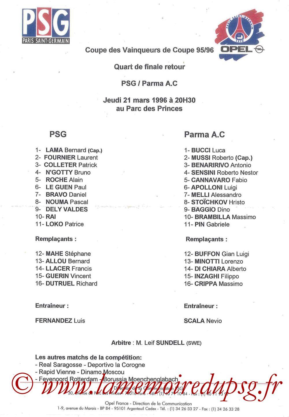 1996-03-21  PSG-Parme (Quart Finale Retour C2, Feuille de match)