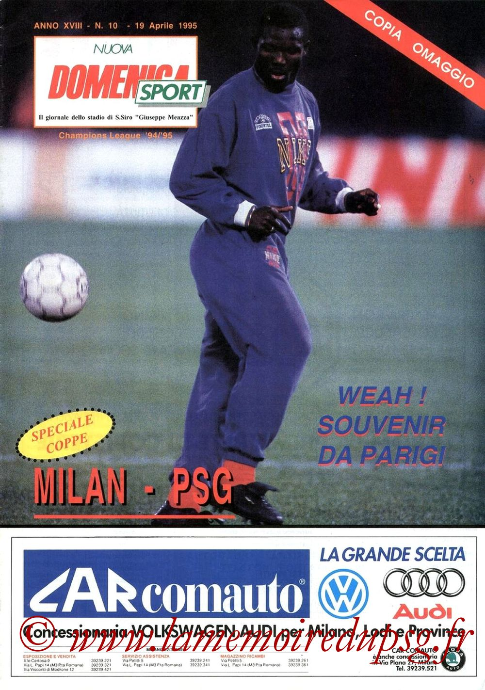 1995-04-19  Milan AC-PSG (Demi-Finale Aller C1, Nuova domenica sport)