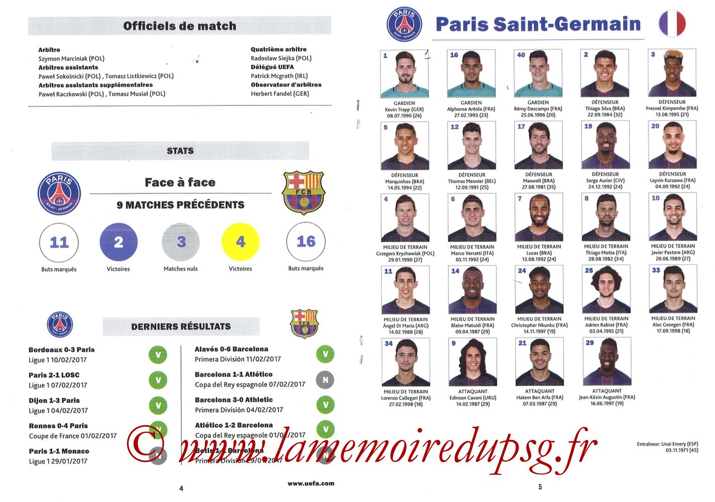 2017-02-14  PSG-Barcelone (8ème C1 aller, Programme pirate) - Pages 04 et 05
