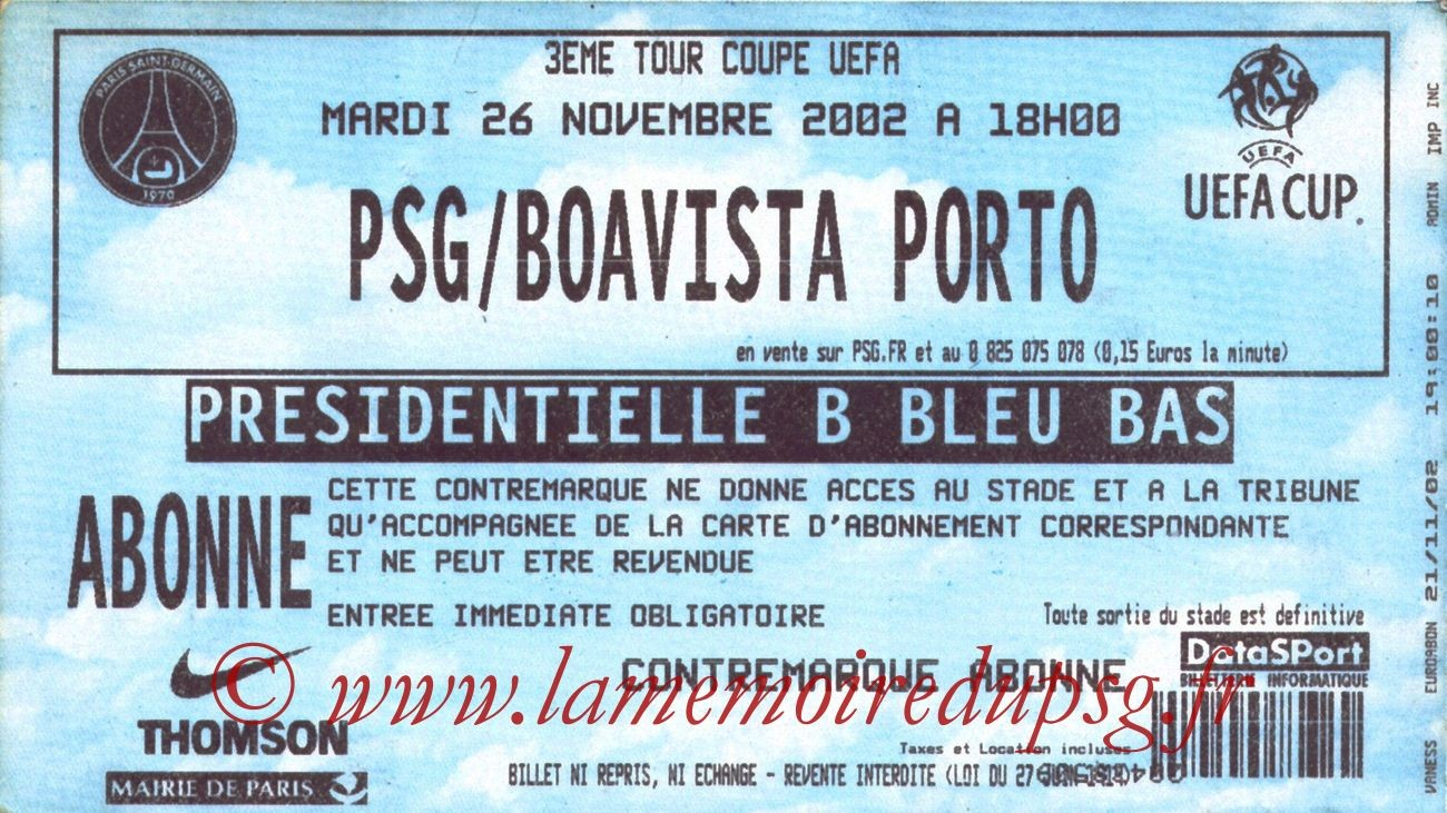 2002-11-26  PSG-Boavista Porto (16ème Finale Aller C3)