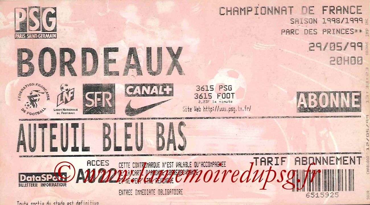 1999-05-29  PSG-Bordeaux (34ème D1)bis