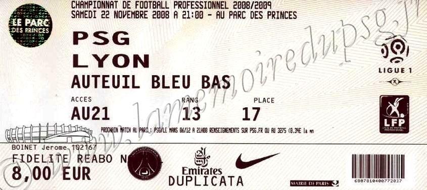 2008-11-22  PSG-Lyon (15ème L1)