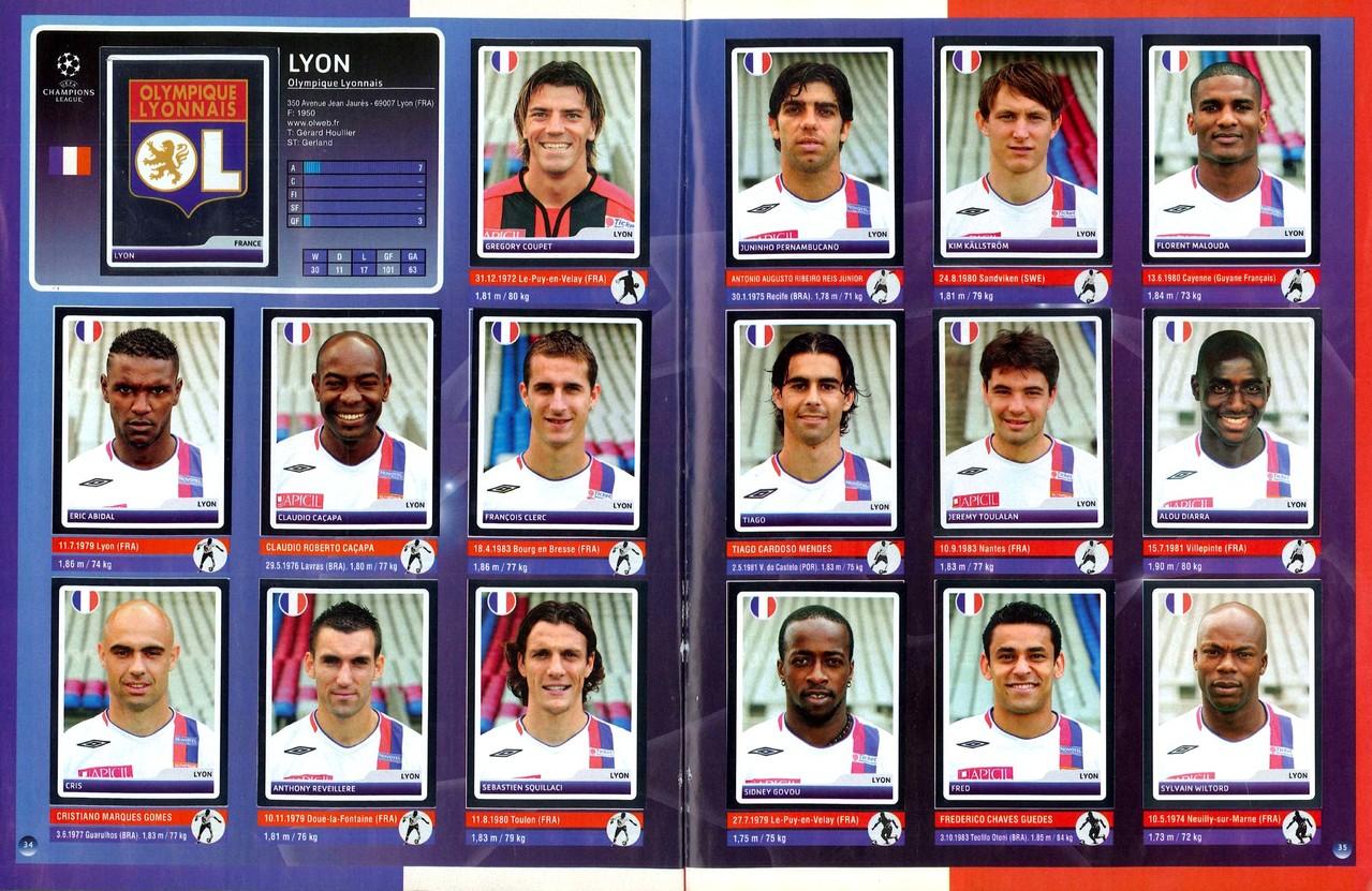 2006-07 - Panini Champions League - Pages 34 et 35 - Olympique Lyonnais