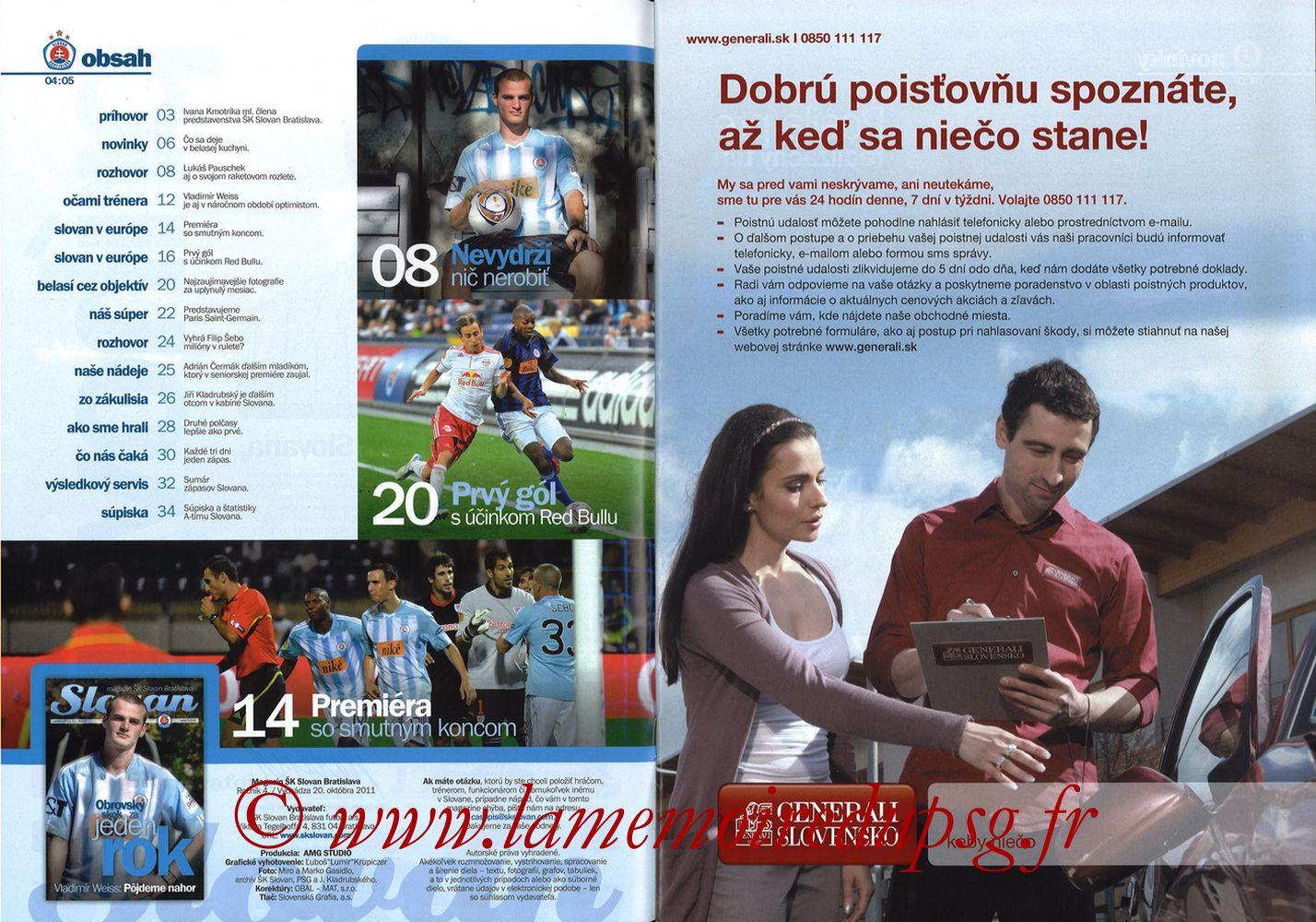 2011-10-20  Slovan Bratislava-PSG (3ème C3, Slovan N°4) - Pages 04 et 05