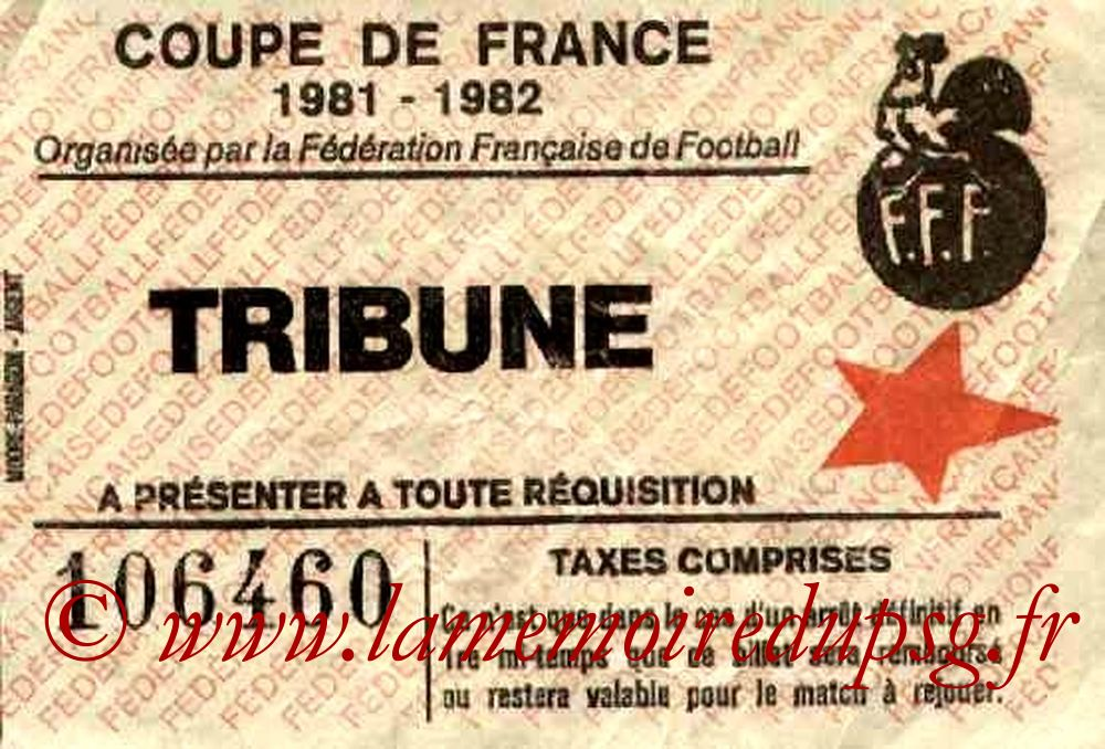 Ticket  Noeux les Mines-PSG  1981-82
