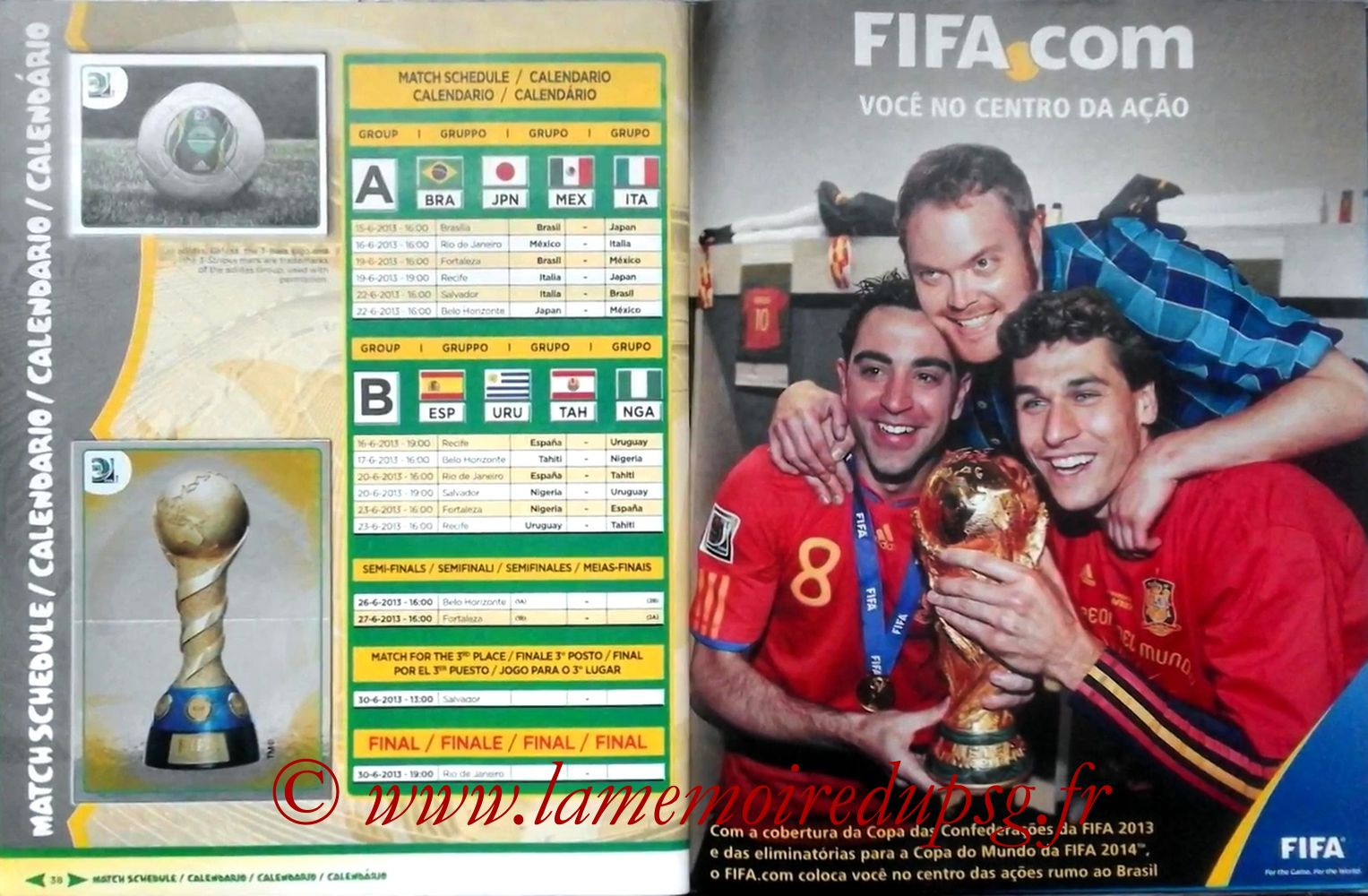 2013 - Panini Confederations Cup Brasil Stickers - Pages 38 et 39 - Calendrier
